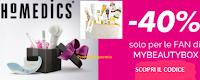 Logo Sconto 40% sui prodotti Homedics e 50% su MyBeautyBox Selection