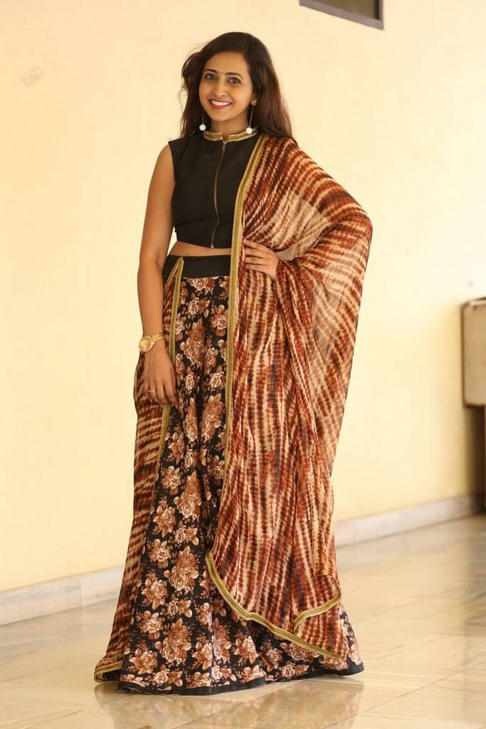 Telugu TV Anchor Lasya Stills In Black Dress At Movie Press Meet