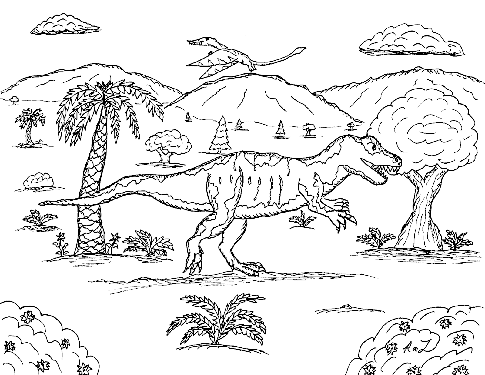 Robin\'s Great Coloring Pages: Big Al the Allosaurus with Rhamphorhynchus