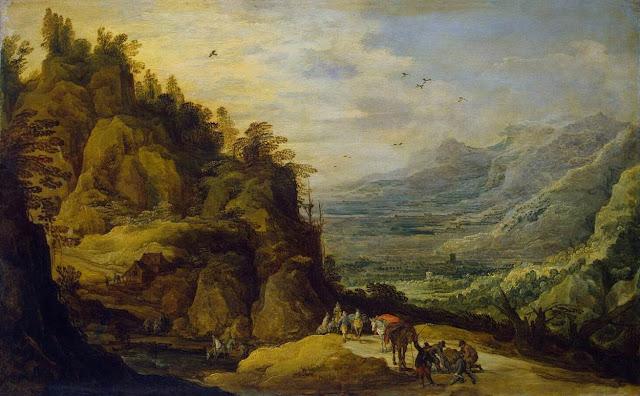 Joos  de Momper - Paisaje montañoso con burros - 1630-34