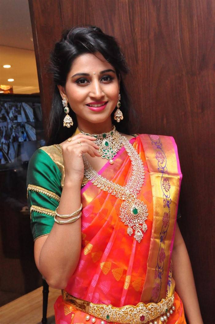 Model Shamili In Traditional Orange Saree At Jewelry Launch
