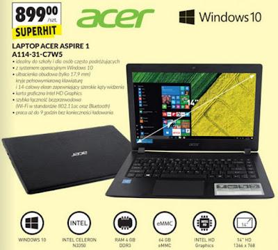 Laptop Acer Aspire 1 A114-31-C7W5 z Biedronki ulotka