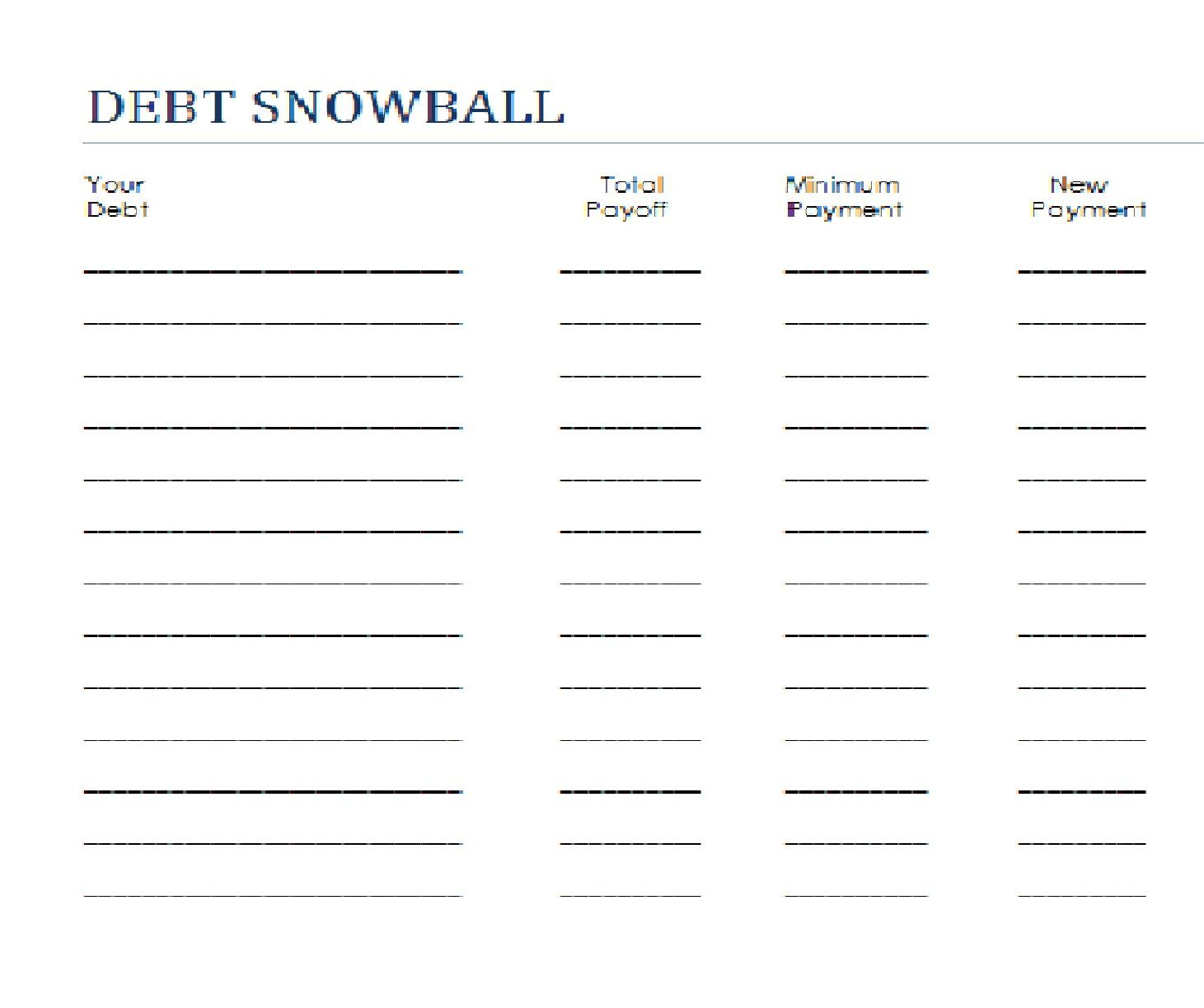 Dave Ramsey Debt Snowball Form Digital Event Info