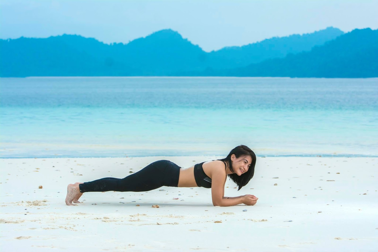 Khin Lay Nwe Doing Exercise At The Beach