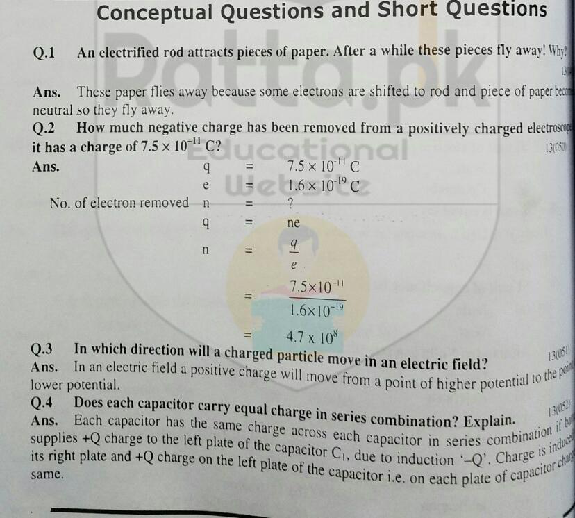 10th Physics Chapter 13 Electrostatics Short Questions 1