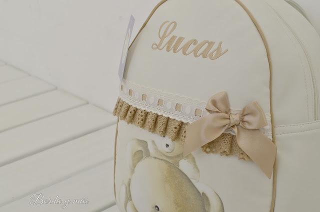 Mochila personalizada en polipiel beige