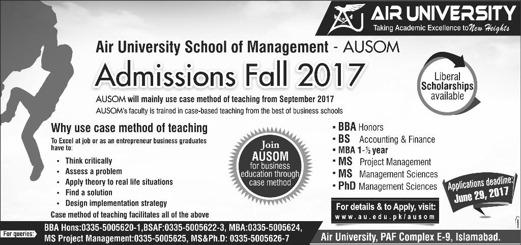 Admission Open in Air University School of Management Islamabad Fall 2017