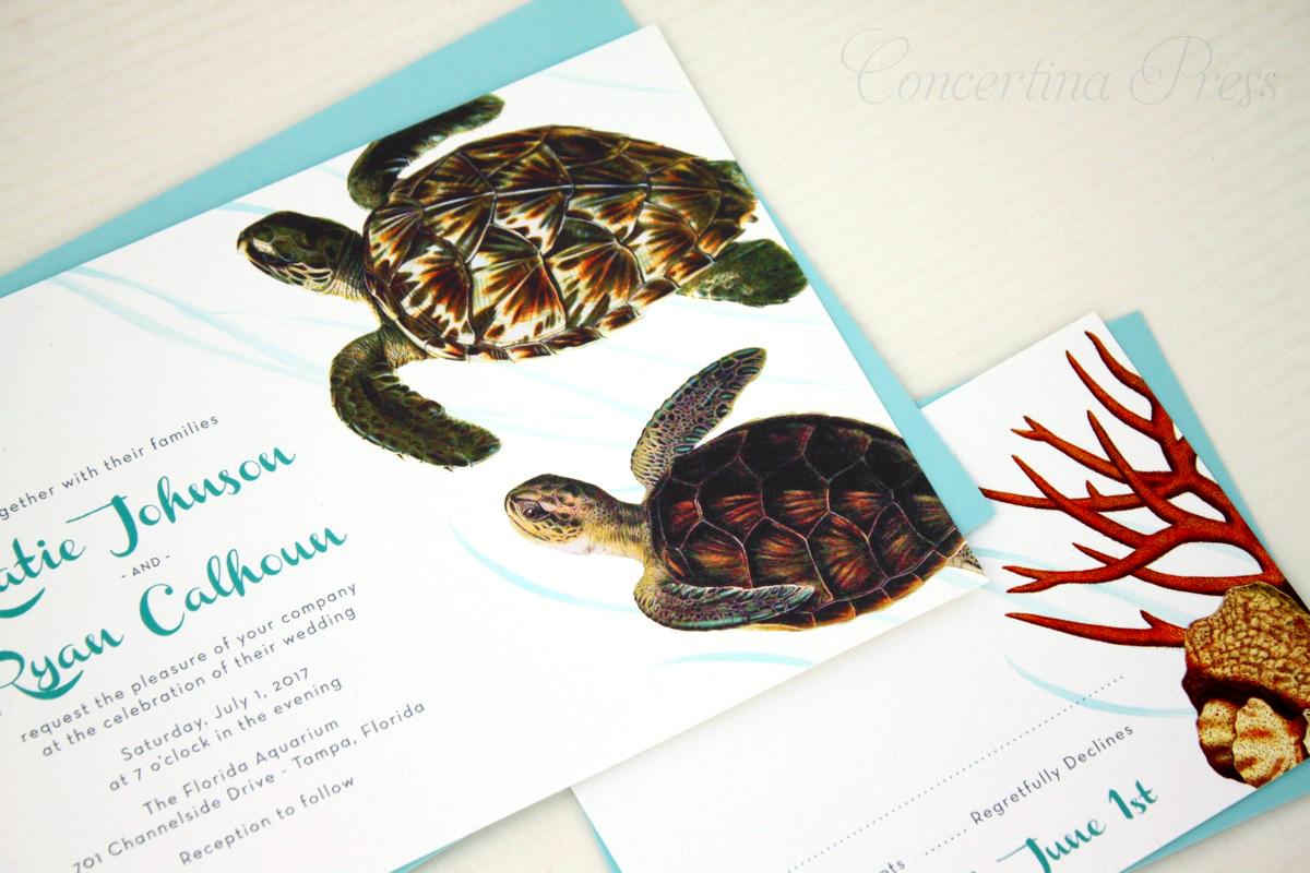 Green Turtle Wedding Invitations for Florida Aquarium Wedding