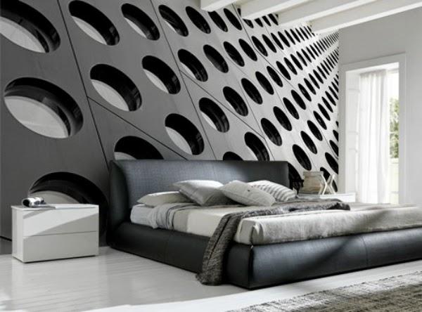 dormitorio decorado con murales