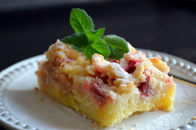 ciasto+z+rabarbarem Ciasto z rabarbarem i kruszonką