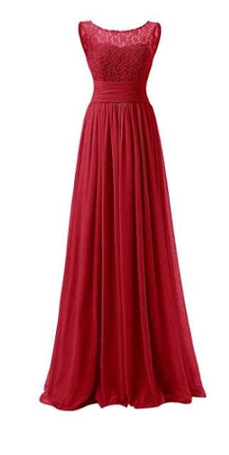 Long Red Lace Chiffon Evening Gown - red prom dress 2018