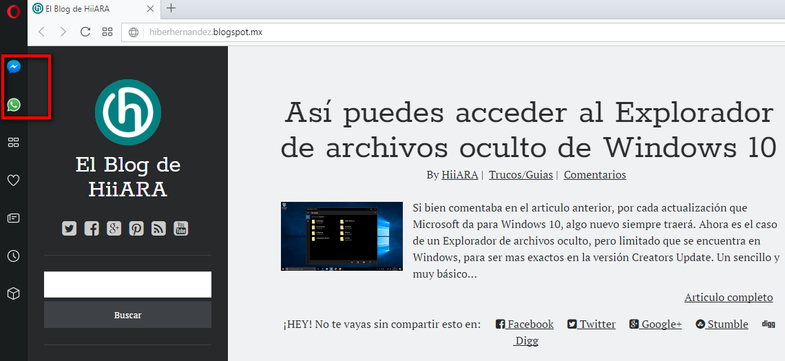 El navegador web Opera, se actualiza e integra WhatsApp y Facebook Messenger -El Blog de HiiARA
