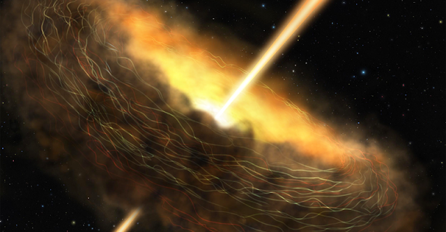Artist's conception of the core of Cygnus A, including the dusty donut-shaped surroundings, called a torus, and jets launching from its center. Magnetic fields are illustrated trapping the dust in the torus. These magnetic fields could be helping power the black hole hidden in the galaxy's core by confining the dust in the torus and keeping it close enough to be gobbled up by the hungry black hole. Image Credit: NASA/SOFIA/Lynette Cook