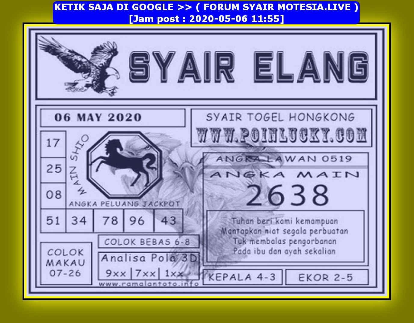 Kode syair Hongkong Rabu 6 Mei 2020 166