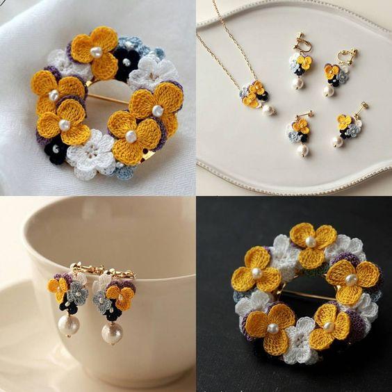 wzory mini kwiatuszków szydełkowych