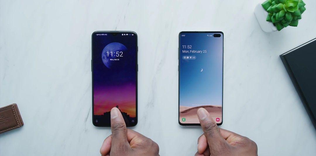 Samsung's Galaxy S10 ultrasonic fingerprint scanner vs OnePlus 6T optical fingerprint reader