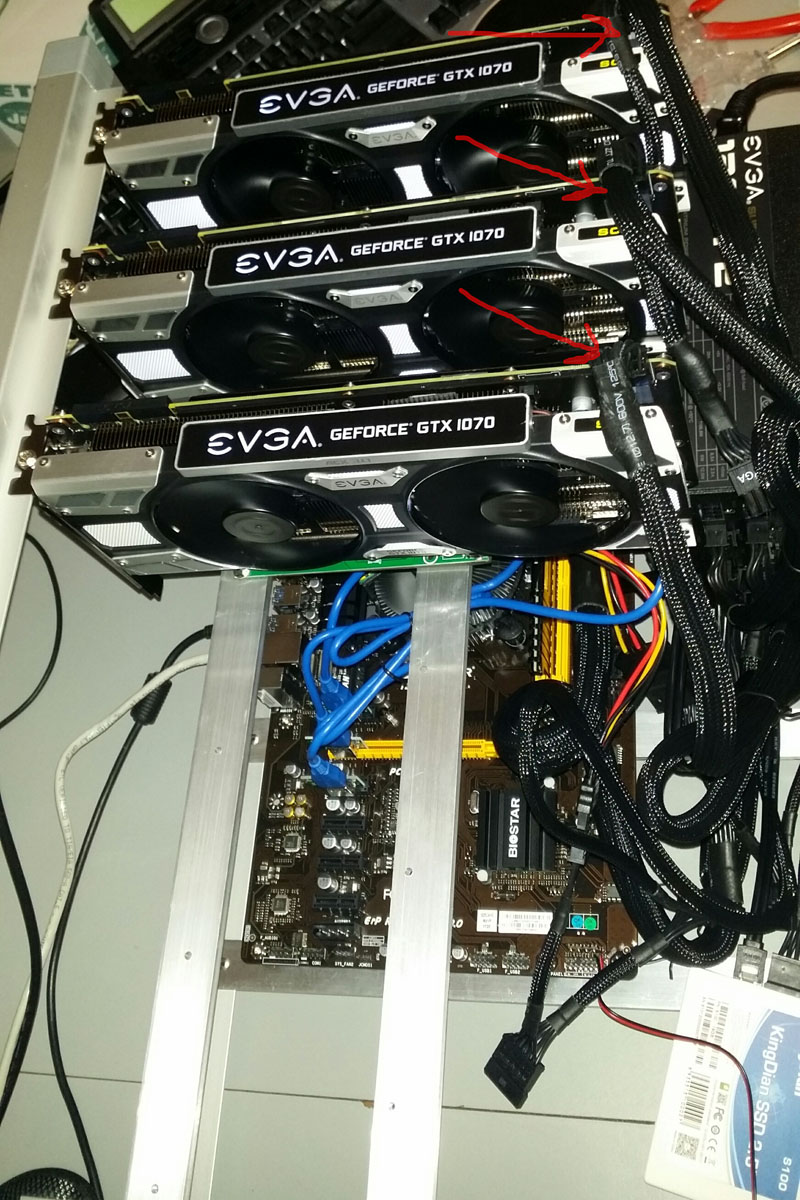 The Complete Beginners Guide To 6 Gpu Mining Ethereum And Other 1070 Case Wiring Diagram Next Step Connect Video Card Power Supply Using One Of Cables Marked Sorry I Had With Just