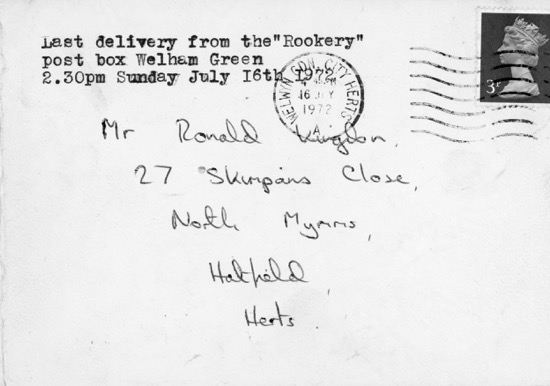 Photograph of letter posted in the the last collection at the Rookery post box in 1972. Image from Ron Kingdon part of the Images of North Mymms Collection