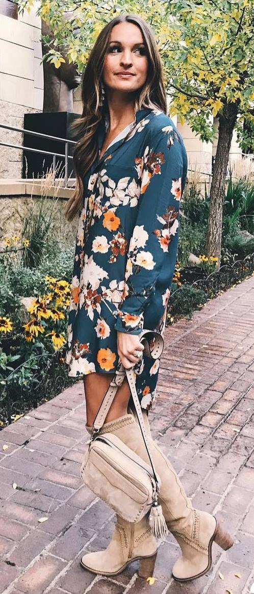 amazing fall outfit / floral dress + bag + nude high boots