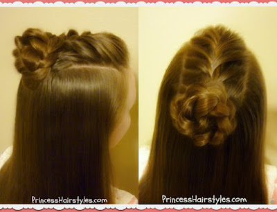 French braid with braided bun half top knot hairstyle.