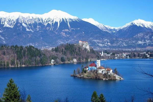 slovénie lac bled île vue