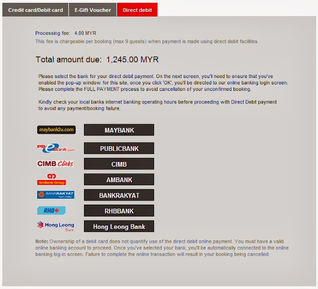Payment methods available at AirAsia