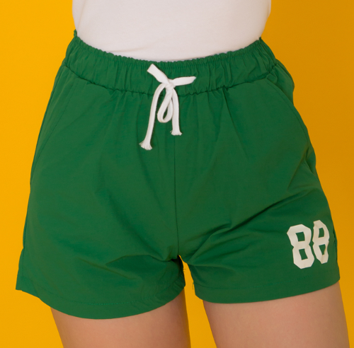 Elastic Waistband Graphic Print Shorts