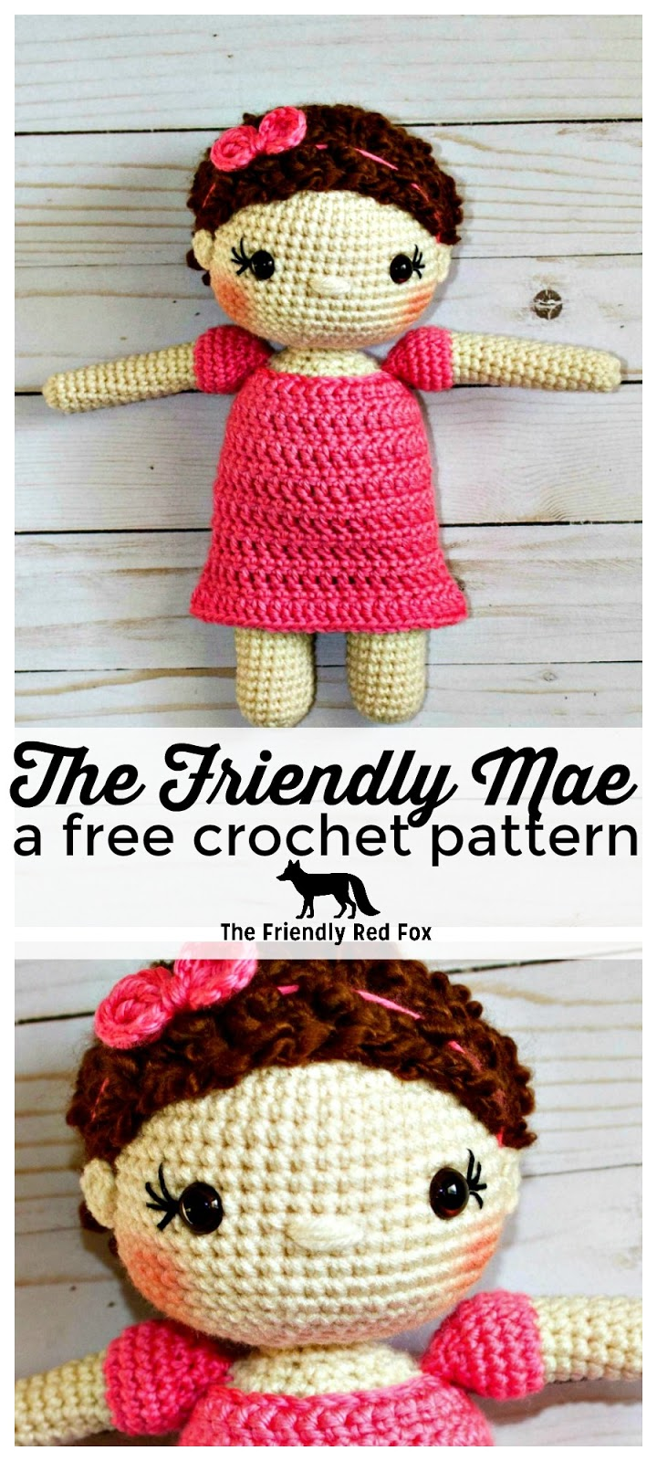 Free Crochet Doll Pattern- The Friendly Mae - thefriendlyredfox.com