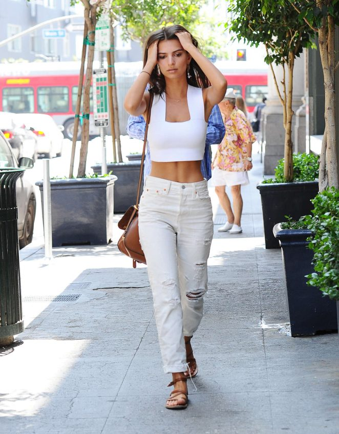 Emily Ratajkowski bares washboard abs out and about in LA