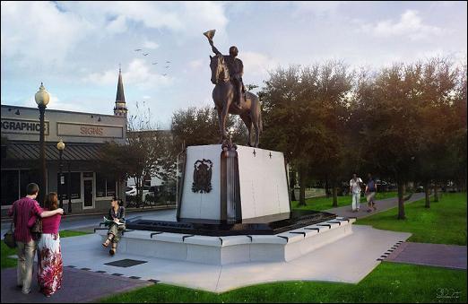 estatua, Bernardo de Gálvez, Pensacola, 3D, Florida, España, Independencia Estados Unidos