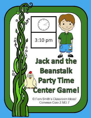 http://www.teacherspayteachers.com/Product/Telling-Time-Center-Game-Jack-and-the-Beanstalk-Party-Time-639360