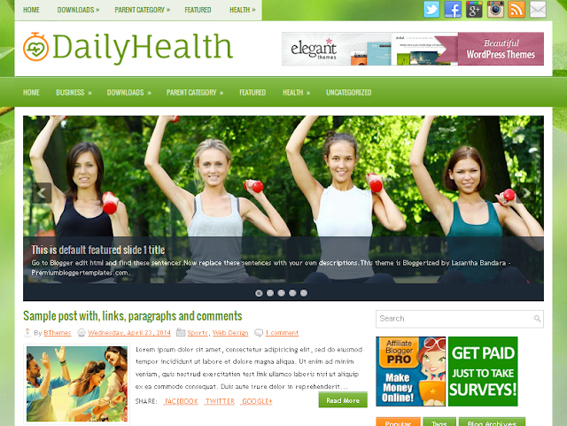Daily Health Blogger Template