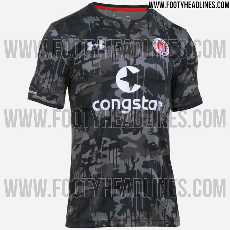White Under Armour FC ST Pauli 17//18 Away Football Shirt