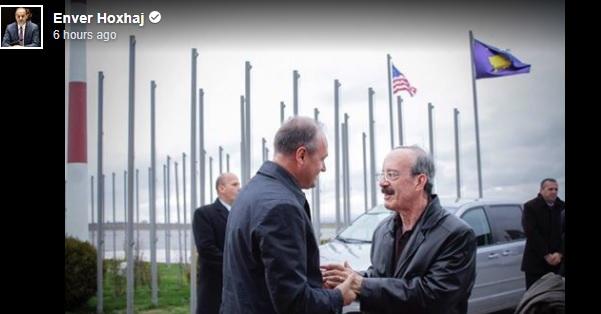 Hoxhaj meeting Engle at Pristina Airport