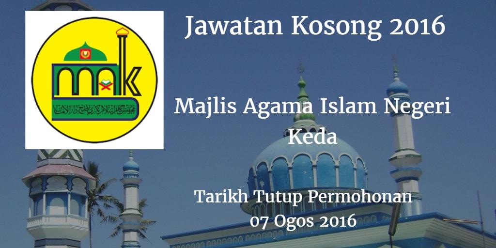 Jawatan Kosong Majlis Agama Islam Negeri Kedah 07 Ogos 2016