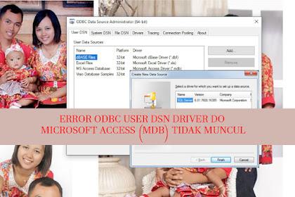 ERROR User DSN Pada ODBC Tidak Bisa Add Database MDB