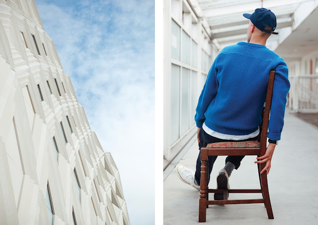 victoria gate shopping centre john lewis building, blue wool jumper by gant