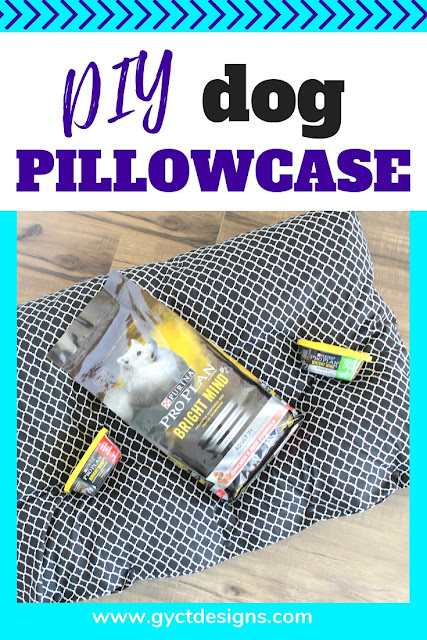 Simple tutorial on sewing a dog pillowcase to cover that dog bed.  For easy washing and cleaning to keep your dog healthy and happy. #ad #FuelTheirPotential #sewing #dog