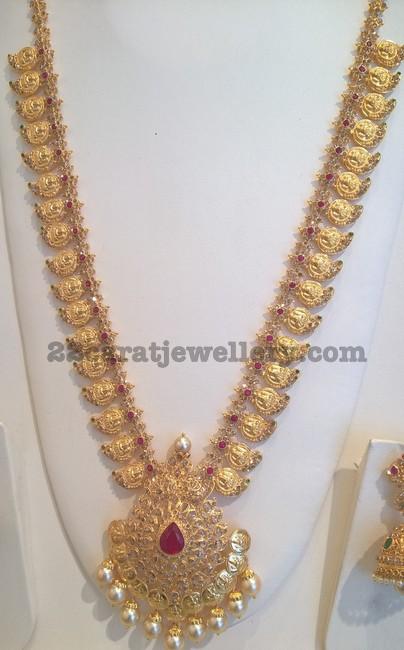 mango mala with lakshmi kasu locket jewellery designs