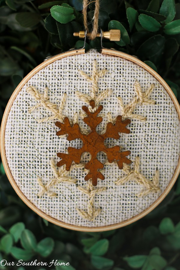 rustic snowflake on christmas tree