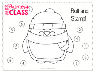 FREE Penguin roll & stamp activity for Kindergarten!