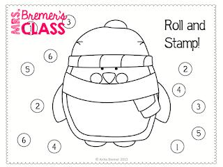 FREE Penguin roll & stamp activity for Kindergarten!