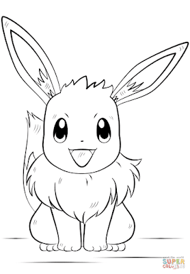 Eevee coloring page for kids