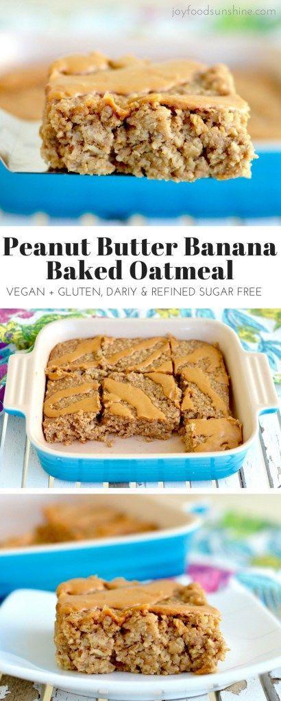 PEANUT BUTTER BANANA BAKED OATMEAL #peanut #peanutbutter #banana #bananarecipes #bananabaked #oatmel #breakfast #breakfastrecipes