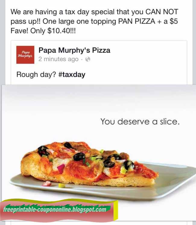 It's just a graphic of Old Fashioned Papa Murphy Coupons Printable