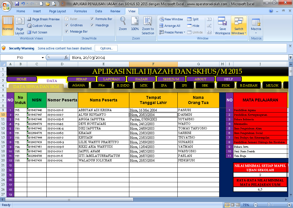 Software Penulisan Ijasah dan SKHUS SD 2016 Aplikasi Excel Free Download