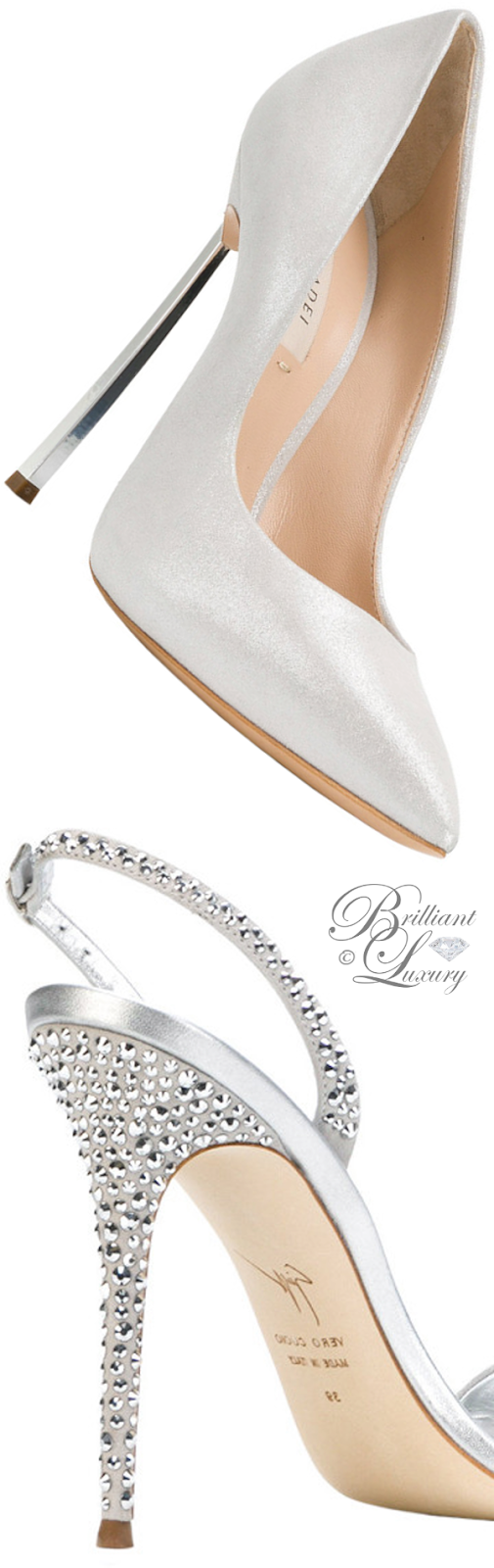 Brilliant Luxury ♦ Casadei techno Blade pumps and Giuseppe Zanotti embellished slingback sandals
