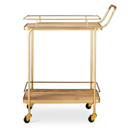 Affordable metal wood and leather bar cart