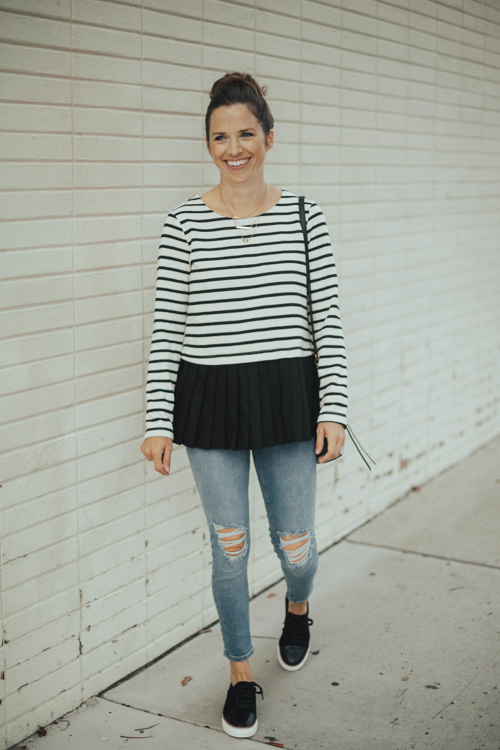 striped pleated top