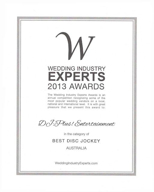 DJ:Plus! Entertainment awarded best wedding dj Australia 2013